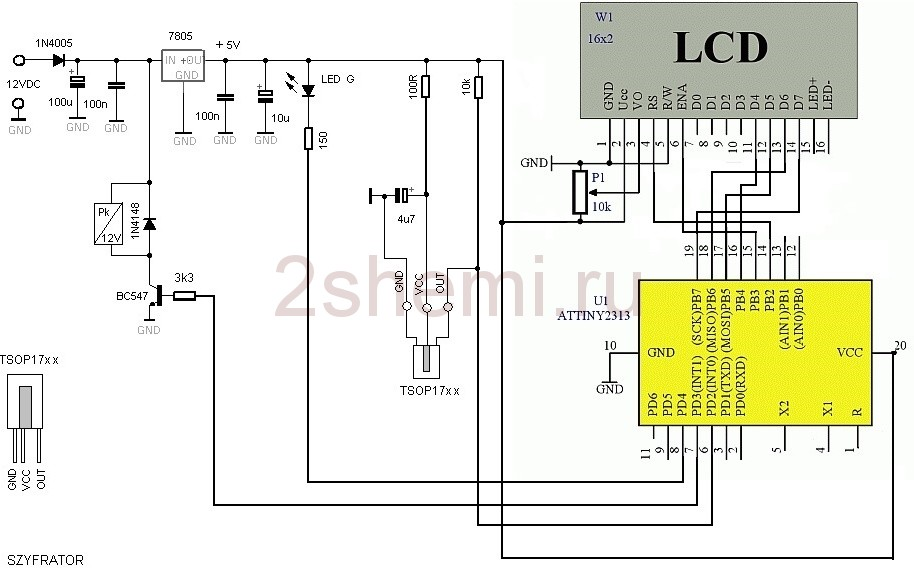 Передача команд через инфракрасный канал - схема сигнализации