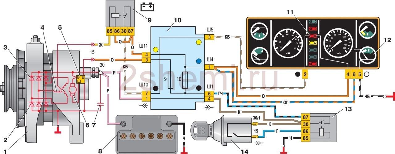 Схема подключения генератора в автомобилях ВАЗ