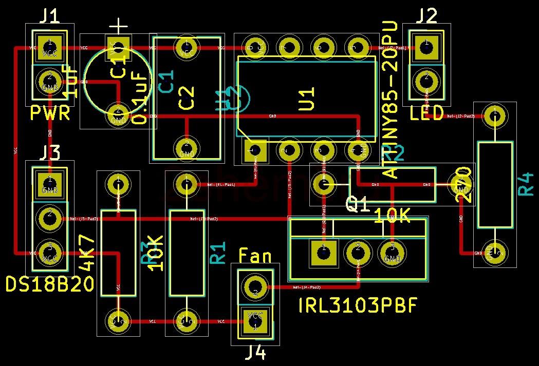 Схема автоматического включения вентилятора при перегреве