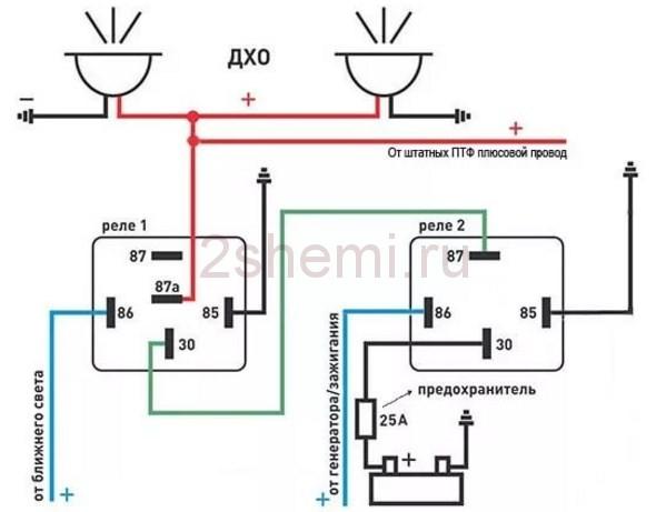 Схема подключения 5 контактное реле.