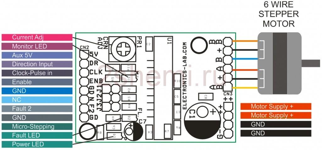 Схема драйвера шагового двигателя на микросхеме