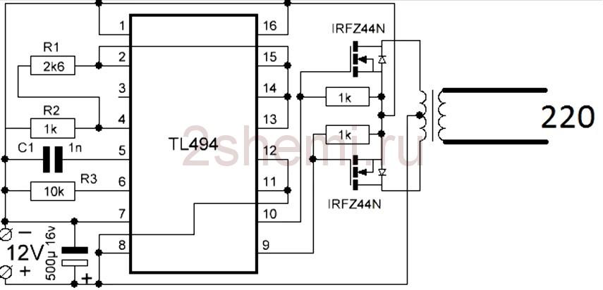 Схема отличного инвертора 12 В – 220 В