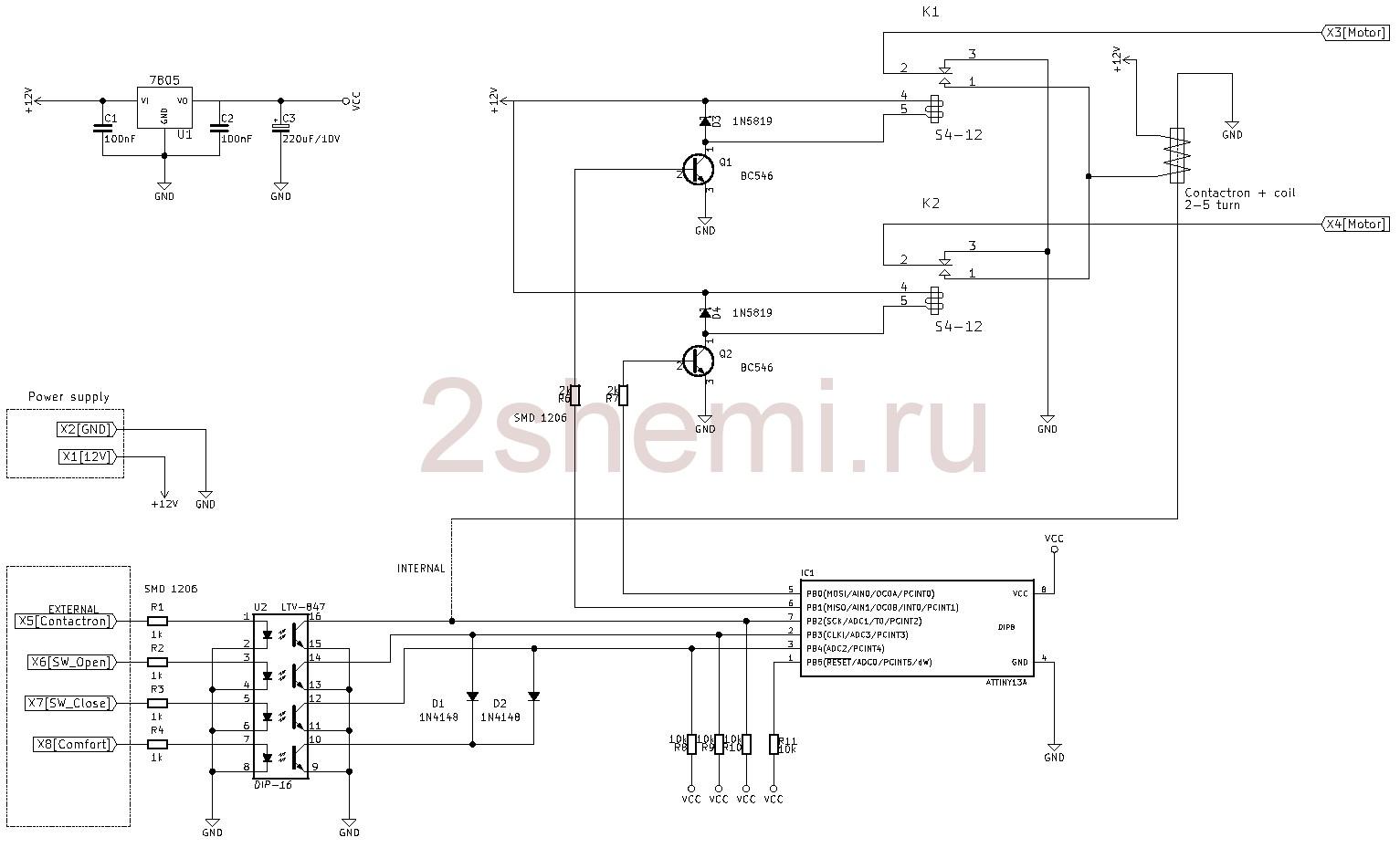 Контроллер электрических стеклоподъемников или люка в автомобиле