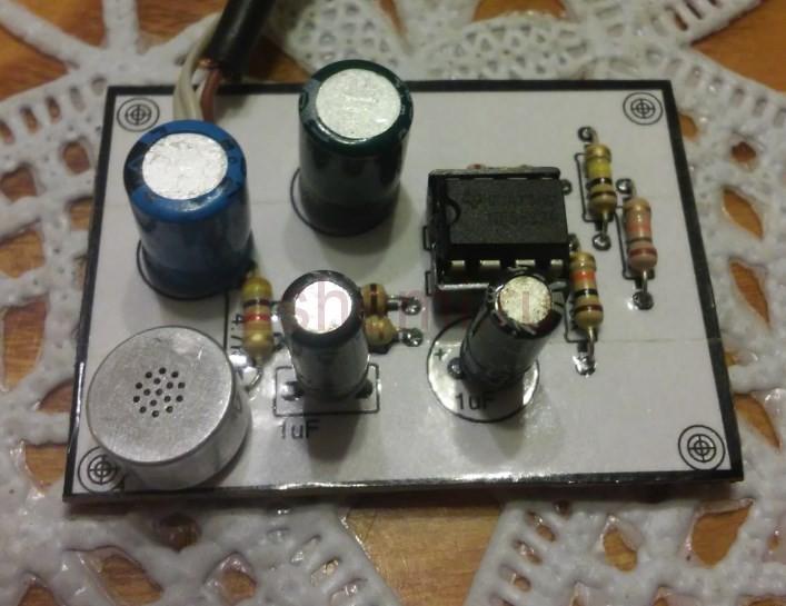 Схема микрофонного усилителя для электретного микрофона