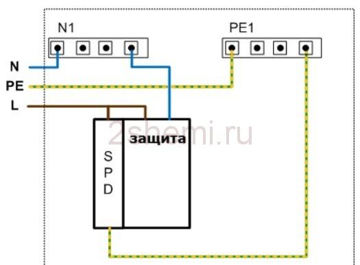 Ограничитель импульсных перенапряжений и схема установки разрядника