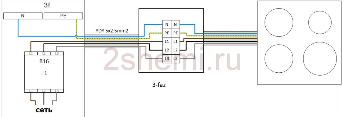 Схема подключения индукционной плиты к сетям 220В или 380В