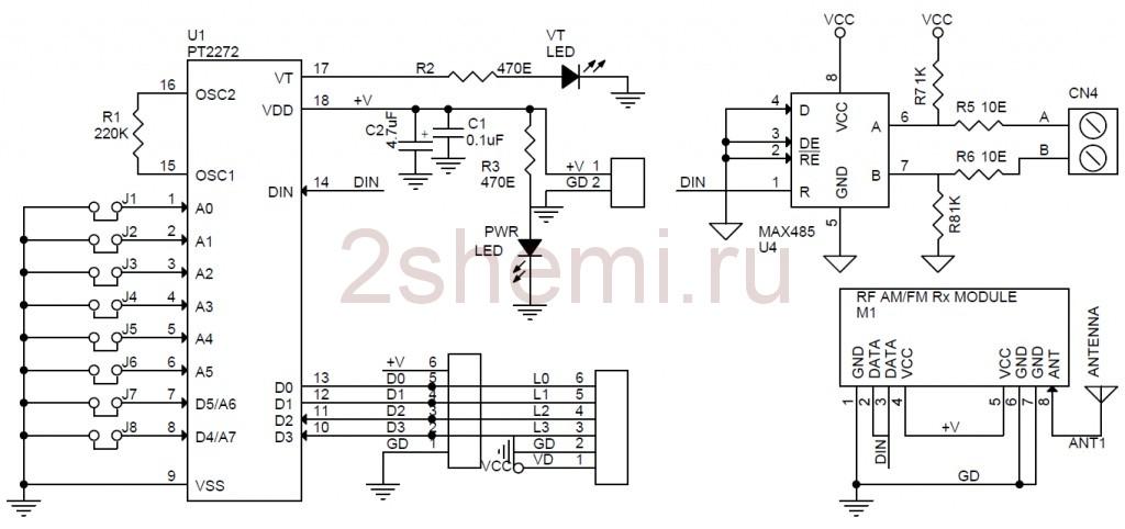 Схема многоканального пульта дистанционного управления по кабелю или радиоканалу
