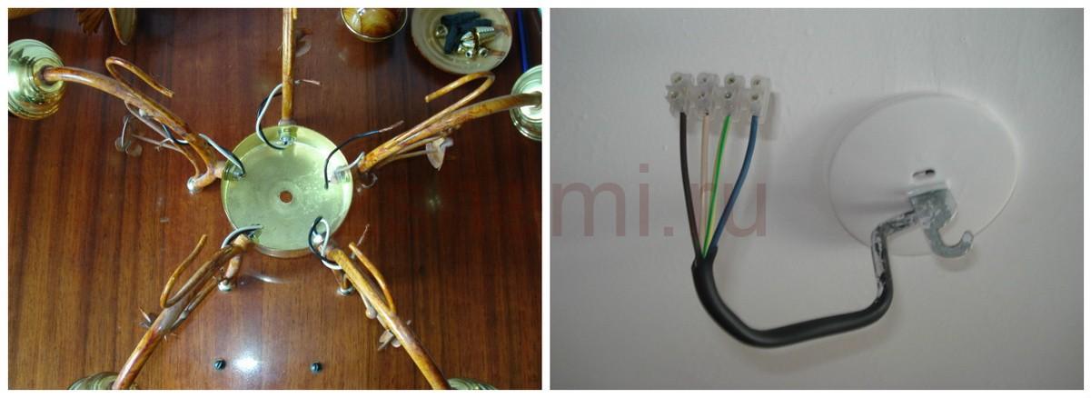 Схема подключения люстры с 5 лампами и её ремонт