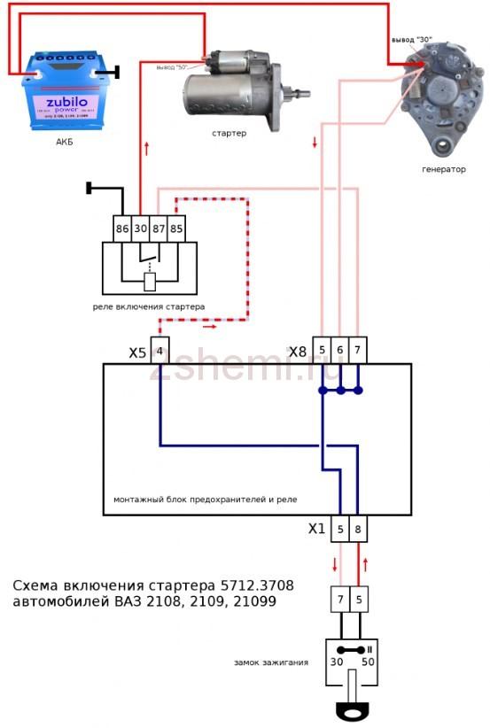 Схема подключения стартера ВАЗ