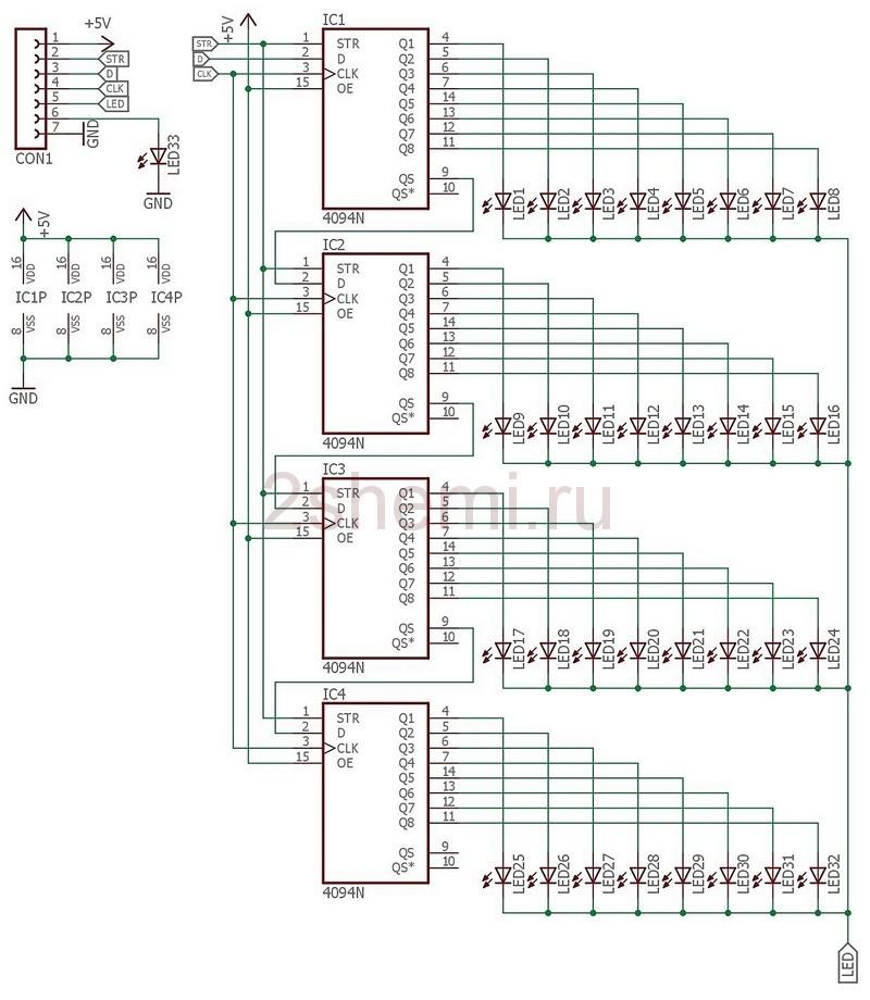 Простой псвевдо аналоговый LED вольтметр