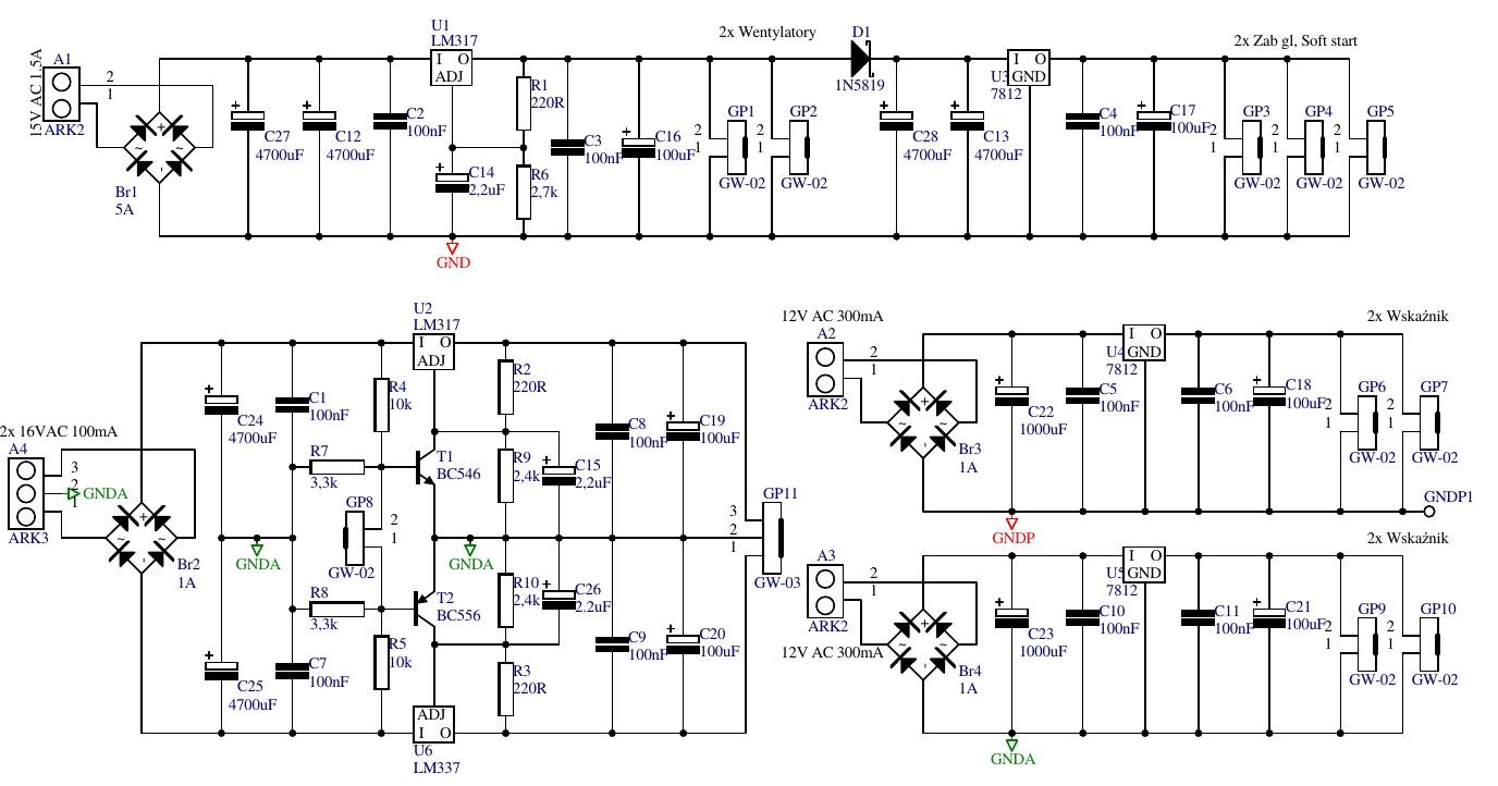 Схема усилителя мощности звука на 500 Ватт