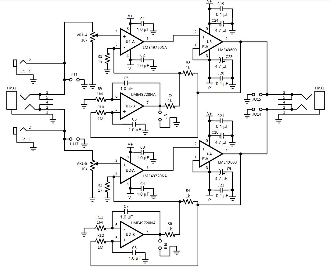 Схема УНЧ для наушников, на основе малошумящих операционных усилителей