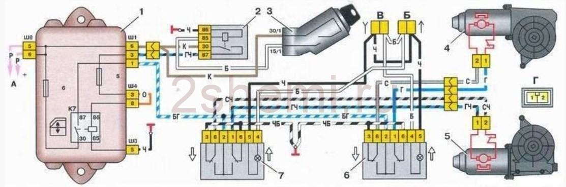 Схема подключения и распиновка кнопки стеклоподъемников ВАЗ