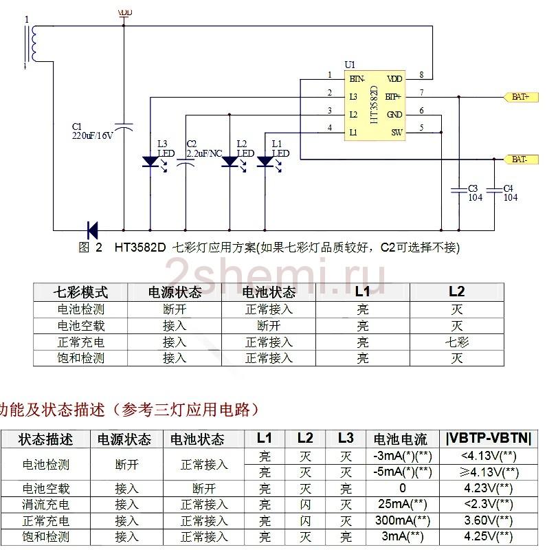 Зарядное на HT3582DM - схема включения микросхемы