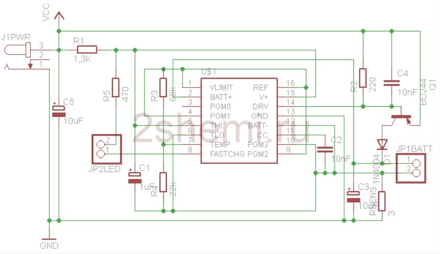 Зарядное устройство для аккумулятора 9 вольт (Крона, 6F22)