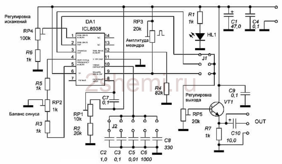 Генератор функциональный на микросхеме ICL8038