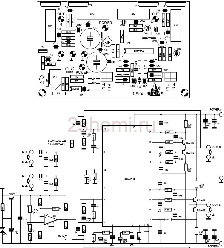 Усилитель на TDA7250 и мощных транзисторах