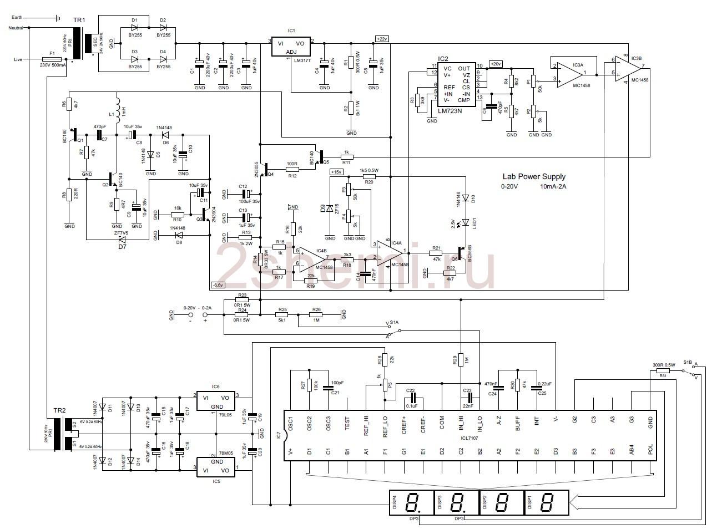 Лабораторный источник питания 0-20 В, 10 мА-2 А с LED V-метром