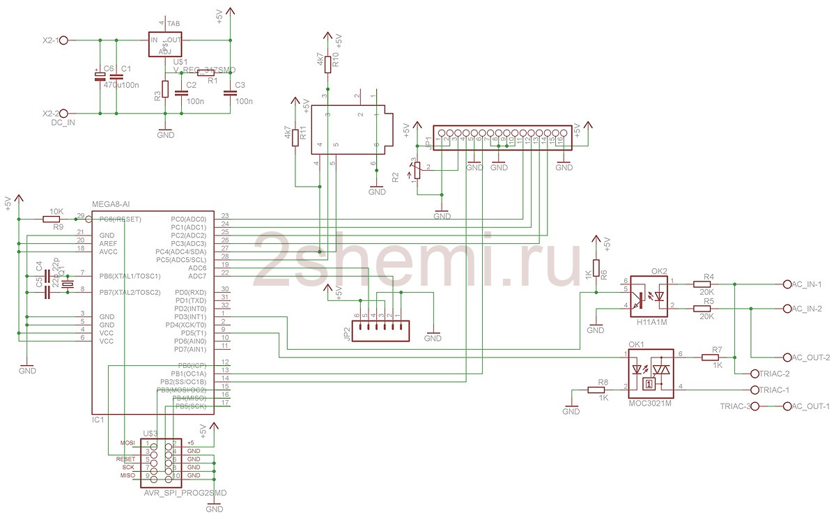 Принципиальная схема диммера переменного тока