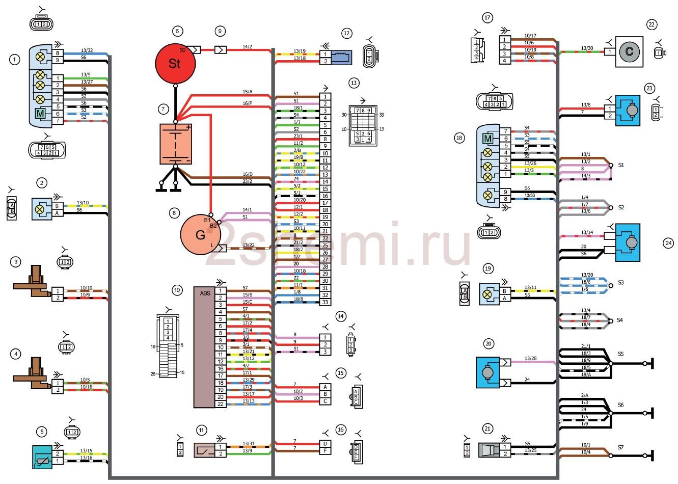 Схема Лада Калина ВАЗ-1117, ВАЗ-1118, ВАЗ-1119