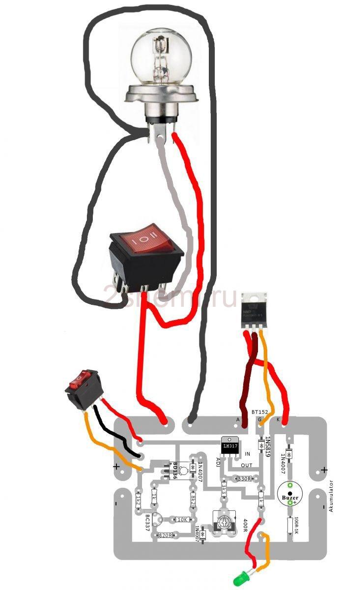 Зарядный выпрямитель для АКБ 12 В с тиристором и защитой
