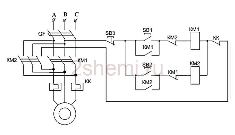 Реверс трехфазного асинхронного двигателя