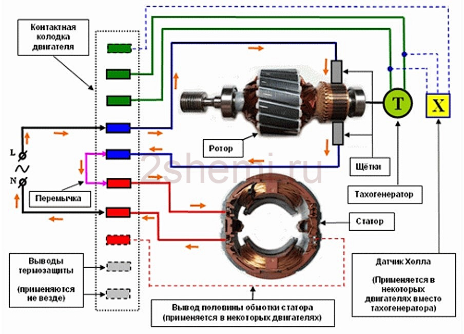Регулировка вращения и реверс мотора от стиральной машины