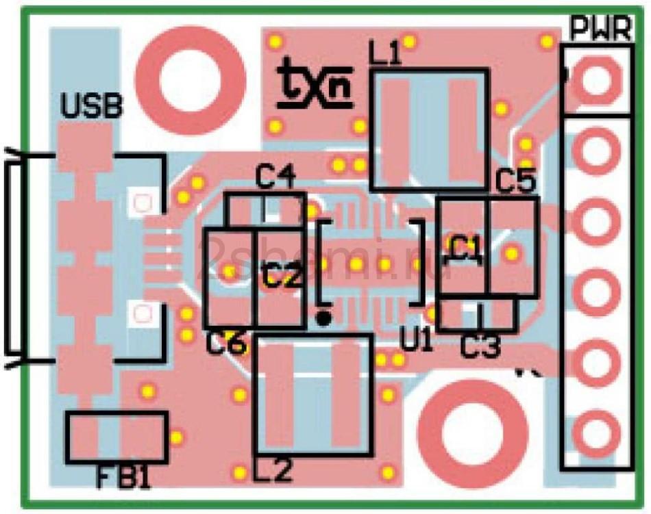 Миниатюрный преобразователь от USB на 2 напряжения