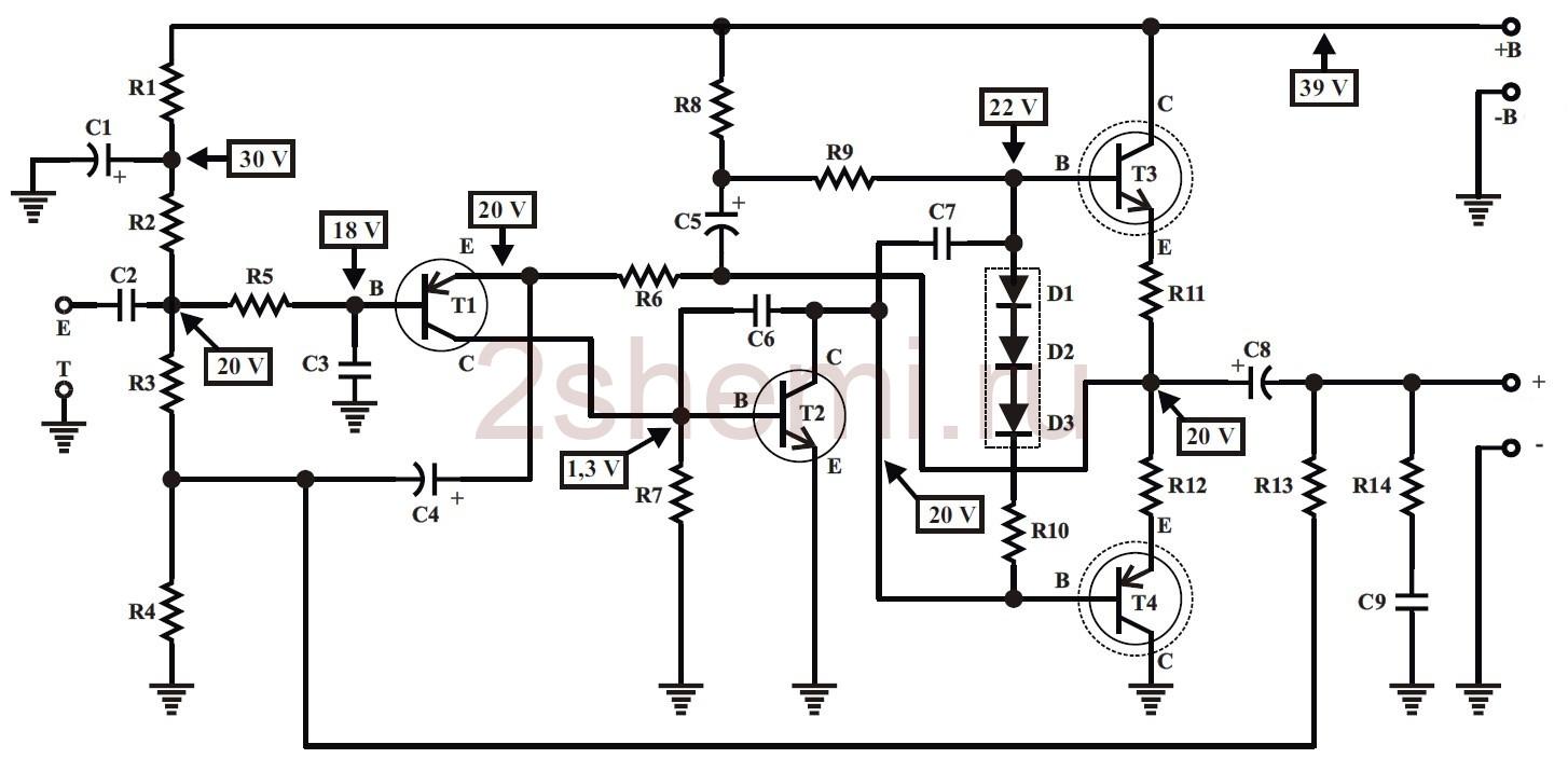 Усилитель 50 Ватт на транзисторах с однополярным питанием