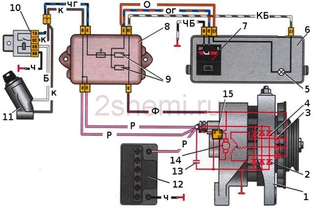 Ваз 2107 схема подключения генератора