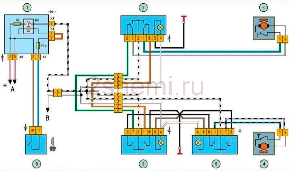 vaz steklopodemnik 12 - Электрическая схема подключения стеклоподъемника