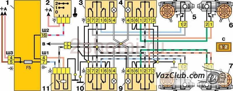 vaz steklopodemnik 17 - Электрическая схема подключения стеклоподъемника